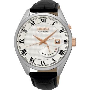 Seiko Kinetic Horlogeband SRN073P1 Zwart Leer