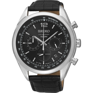 Seiko Quartz Horlogeband SSB097P1 Zwart Leer