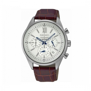 Seiko Chronograph Horlogeband SSB157 Bruin Leer