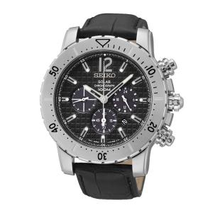 Seiko Solar Chronograph Horlogeband SSC223 Zwart Leer
