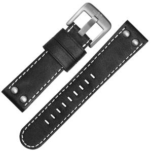 TW Steel Horlogebandje CS1, CS3 - TWS1 Zwart, Wit Stiksel 22mm