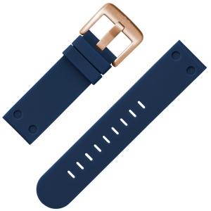 TW Steel Horlogebandje Donkerblauw Rubber Rose Gesp 22mm