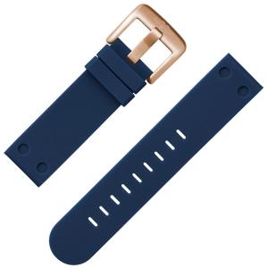 TW Steel Horlogebandje Donkerblauw Rubber Rose Gesp 24mm