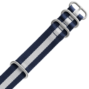 TW Steel Heavy Duty NATO Strap Navy Blue White - MATTE/PVD