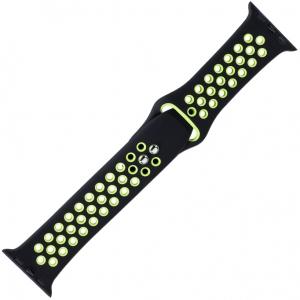 Apple Watch Sport Horlogeband Zwart en Groen Silicone Rubber
