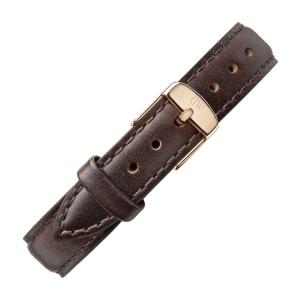 Daniel Wellington 14mm Petite Bristol Donkerbruin Leer Horlogebandje Rosé Gesp
