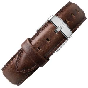 Daniel Wellington 17mm Dapper Bristol Donkerbruin Leer Horlogebandje RVS Gesp