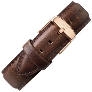 Daniel Wellington 20mm Classic Bristol Donkerbruin Leer Horlogebandje Rosé Gesp