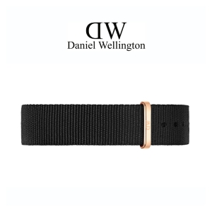 Daniel Wellington 14mm Petite Cornwall Zwart Nato Horlogebandje Rosé Gesp