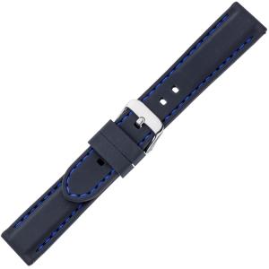 Zwart Silicone Rubberen Horlogeband - Blauw Stiksel