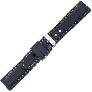 Zwart Silicone Rubberen Horlogeband - Groen Stiksel