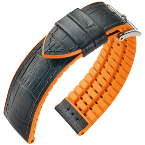 Hirsch Andy Performance Horlogeband Zwart Leer / Oranje Rubber
