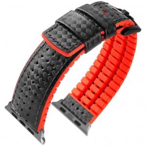 Apple Watch Horlogeband Hirsch Ayrton Zwart Leer Rood Rubber