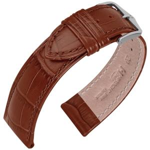 Hirsch Duke Horlogebandje Alligatorgrain Bruin
