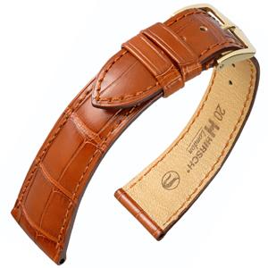 Hirsch London Louisiana Alligator Horlogebandje Mat Goudbruin