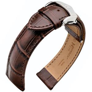 Hirsch Lord Horlogebandje met Geïntegreerde Vouwsluiting Donkerbruin