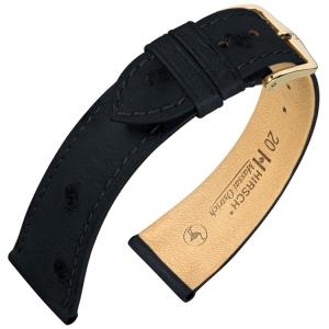 Hirsch Massai Horlogebandje Struisvogelleer Zwart