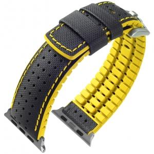 Apple Watch Horlogeband Hirsch Robby Zwart Leer Geel Rubber