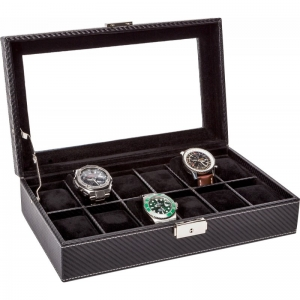 La Royale Classico 12 Carbon Horlogebox met Venster - 12 horloges