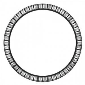 Marc Coblen Bezel 45mm Zwart Staal Witte Stenen - MCB45B001