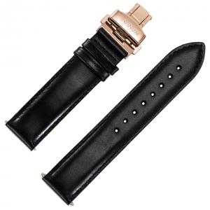 Infinum Optimismus Horlogebandje Zwart Kalfsleer Rose Vouwsluiting 22mm