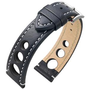 Hirsch Rally Artisan Geperforeerd Horlogebandje Zwart met Wit Stiksel