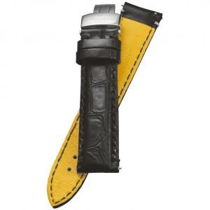 Fromanteel Pendulum Horlogeband Alligatorgrain Zwart met Vouwsluiting