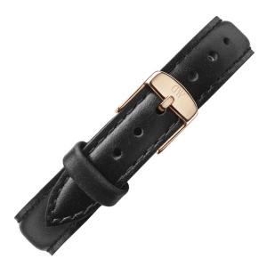 Daniel Wellington 14mm Petite Sheffield Zwart Leer Horlogebandje Rosé Gesp