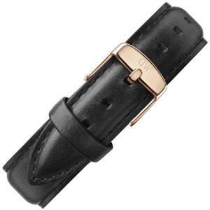 Daniel Wellington 19mm Dapper Sheffield Zwart Leer Horlogebandje Rosé Gesp