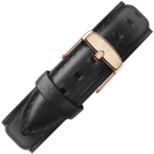 Daniel Wellington 20mm Classic Sheffield Zwart Leer Horlogebandje Rosé Gesp