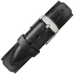 Daniel Wellington 18mm Classic Sheffield Zwart Leer Horlogebandje RVS Gesp