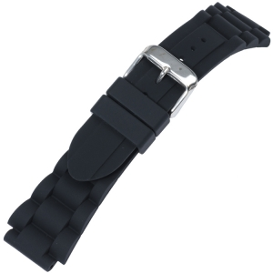 Rubber Schakels Horlogebandje Zwart