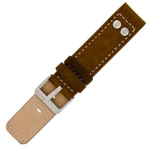 OOZOO Horlogebandje Bruin Leer met Studs