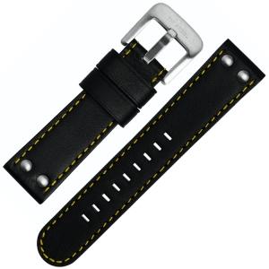 TW Steel Horlogebandje TW671, TW673 - Zwart, Geel Stiksel 24mm