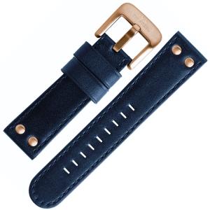 TW Steel Horlogebandje TW405, TW407, CE6001 - Blauw, Roségouden Gesp 24mm