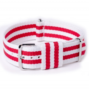 NATO Strap RAF Military Style White Red Bond Nylon 20mm - SS