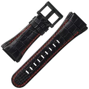 TW Steel Horlogebandje CE4008 CEO Tech 44mm - Zwart Leer, Rood Stiksel 30mm