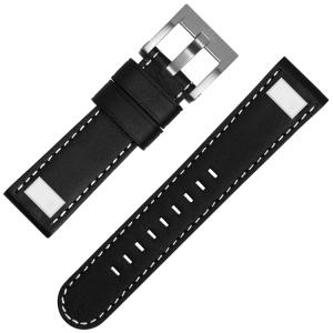 TW Steel Universeel Horlogebandje Zwart Leer Vierkante Stud - 22mm
