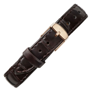 Daniel Wellington 14mm Petite York Donkerbruin Leer Horlogebandje Rosé Gesp