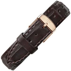 Daniel Wellington 18mm Classic York Donkerbruin Crocograin Leer Horlogebandje Rosé Gesp