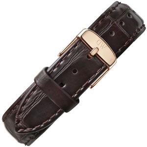 Daniel Wellington 20mm Classic York Donkerbruin Crocograin Leer Horlogebandje Rosé Gesp