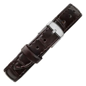 Daniel Wellington 12mm Petite York Donkerbruin Leer Horlogebandje RVS Gesp