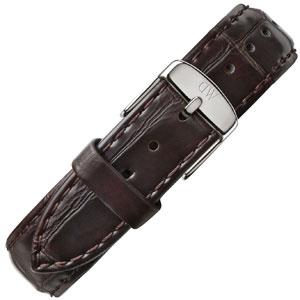 Daniel Wellington 18mm Classic York Donkerbruin Crocograin Leer Horlogebandje RVS Gesp