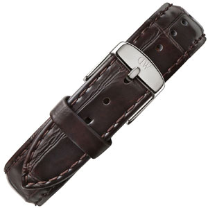 Daniel Wellington 18mm Classic Lady York Donkerbruin Crocograin Leer Horlogebandje RVS Gesp