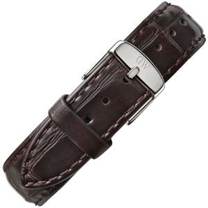 Daniel Wellington 20mm Classic York Donkerbruin Crocograin Leer Horlogebandje RVS Gesp
