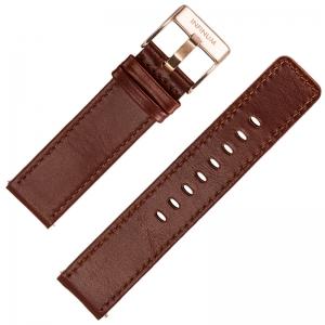 Infinum Firmitudo Horlogebandje Zadelleer Bruin Rosé Gesp 22mm