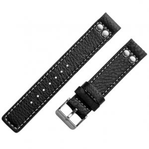 OOZOO Horlogebandje Zwart Leer met Studs