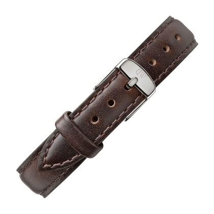 Daniel Wellington 14mm Petite Bristol Donkerbruin Leer Horlogebandje RVS Gesp