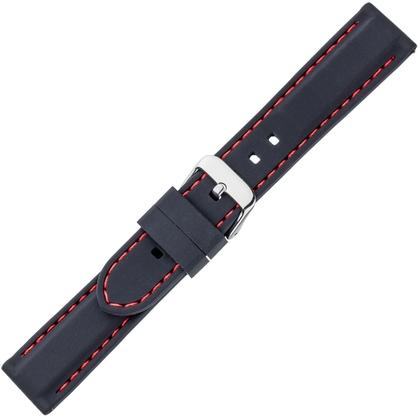 Zwart Silicone Rubberen Horlogeband - Rood Stiksel