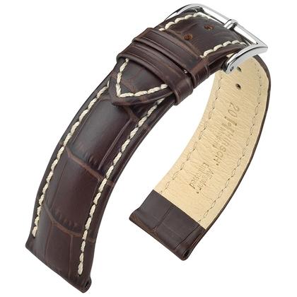 Hirsch Modena Horlogebandje Alligatorgrain Bruin